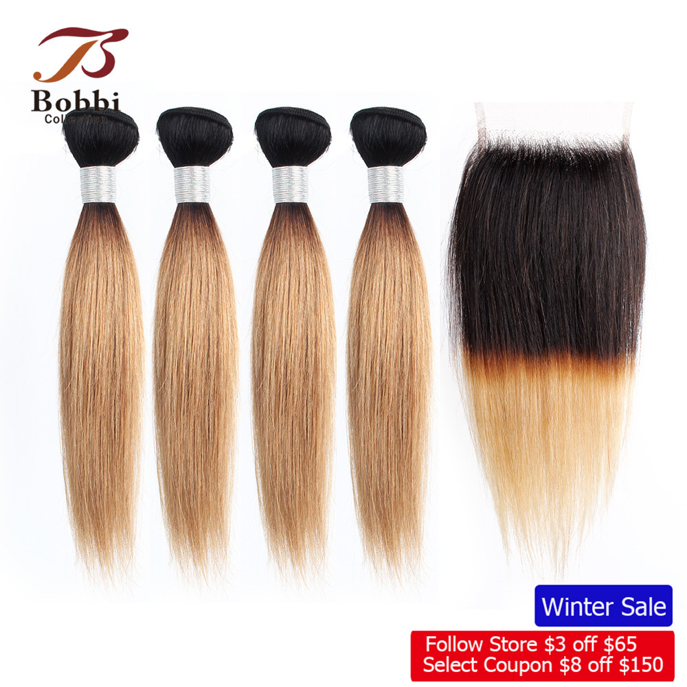 Bobbi Collection 4/6 Bundle With Closure 50g/pc Brazilian Ombre Honey Blonde Hair With Lace Closure Straight Remy Human Hair