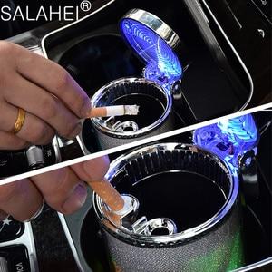 Автомобильная пепельница со светодиодный светильник пепельница из нержавеющей стали дым чашки держатель чашки для хранения для Peugeot 107 108 206 207 208 308 307 408 407 508 3008 2008 Пепельница в авто      АлиЭкспресс