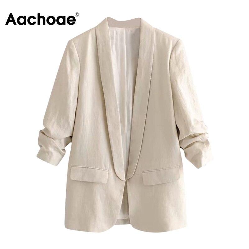 Женская модная офисная одежда, Блейзер, пальто 2020, с зубчатым воротником, повседневный костюм с карманами, блейзеры, однотонный плиссирован...