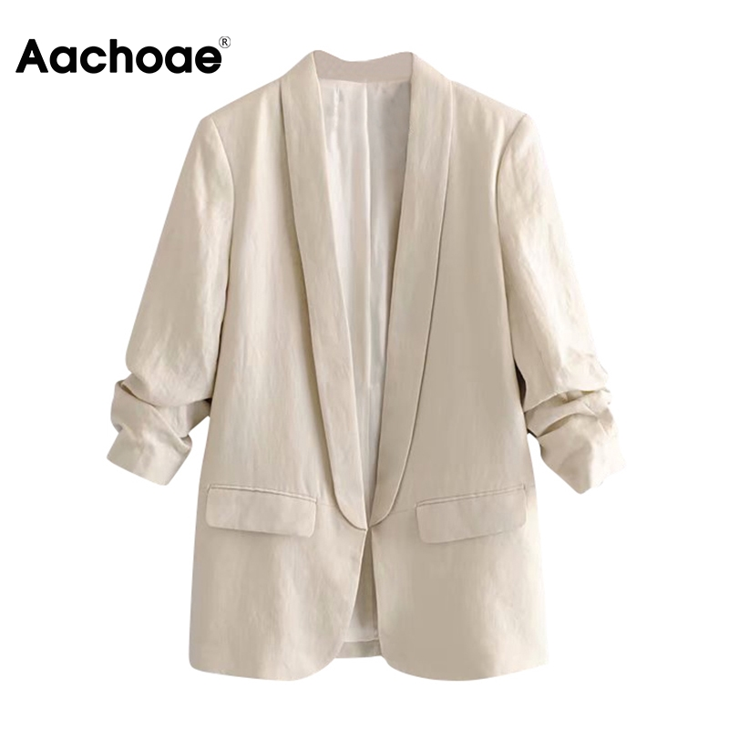 Aachoae Women Office Wear Blazer Coat 2020 Notched Collar Casual Pockets Suit Blazers Solid Pleated Sleeve Chic Outwear Tops