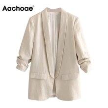 Women Fashion Office Wear Blazer Coat 2020 Notched Collar Casual Pockets