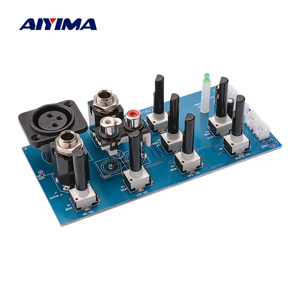 AIYIMA Microphone Reverb Preamplifier Board 2 Road EQ Tone Equalization With Aux DIY Sound Amplifier Home Theater