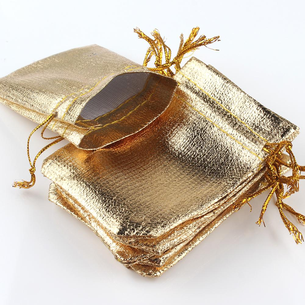 50pcs/lot Jewelry Packing Gold Foil Cloth Drawstring Christmas Gift Packaging Gift Bags7x9cm 9x12cm Wedding Gift Bags Pouches