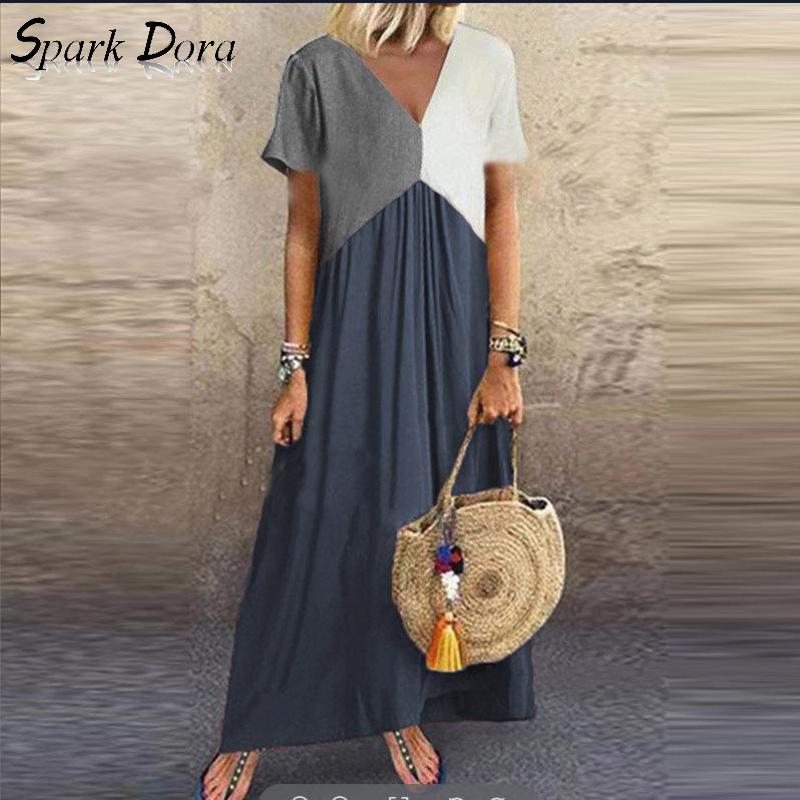 Plus Size Dress Fashion Streetwear Geometric Irregular V-neck Casual Vestidos Color Matching Short Sleeve Comfort Dress Women