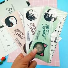 купить 4 Pcs/set Cartoon Cat ruler Transparent  ruler set School Student Kids Tool Multifunction drawing Plastic ruler set по цене 155.42 рублей