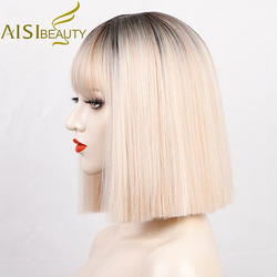 AISI BEAUTY Synthetic Wigs Ombre Blonde Short Straight Bob Wigs with Bangs for Women Black Pink Purple Red Natural Hairline Wigs