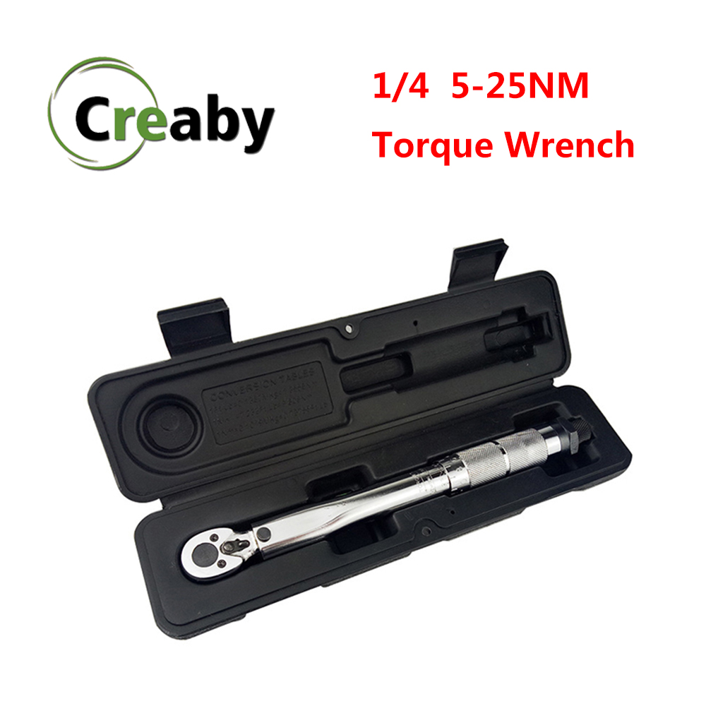 Torque Wrench 1/4 Adjustable Square Drive 5-25NM Two-way Precise Ratchet Wrench Spanner Hand Tool For Car Bicycle Motorbike Use