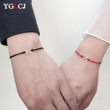 YGLCJ 2pcs/set Together Forever Love Infinity Bracelet for Lovers Red String Couple Bracelets Women Mens Wish Jewelry Gift