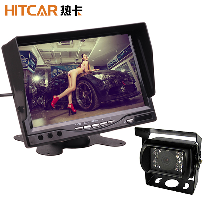 """4.3/"""" Car Stand Visor LCD Monitor Rearview Wired Parking Kit Rear view Camera"""