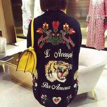 Новое поступление, Модный женский осенний длинный кардиган, свитер, пальто, Женский вязаный джемпер высокого качества с вышивкой тигра