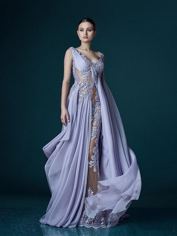 Transparente vestidos longos de noite a-linha, decote