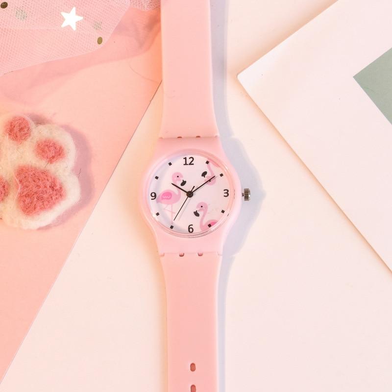 New Silicone Candy Color Student Watch Girls Clock Fashion Flamingo Watches Children Wristwatch Cartoon Kids Quartz Watch