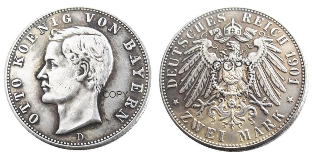 Германия Bavaria 2 Mark 1901 посеребренные копии монет