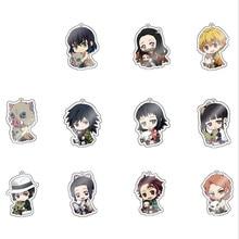 12pcs/lot Anime Demon Slayer Kimetsu No Yaiba Keychain PVC Key Chain Cute Nezuko Tanjirou Agatsuma Zenitsu Arcylic Key Chains