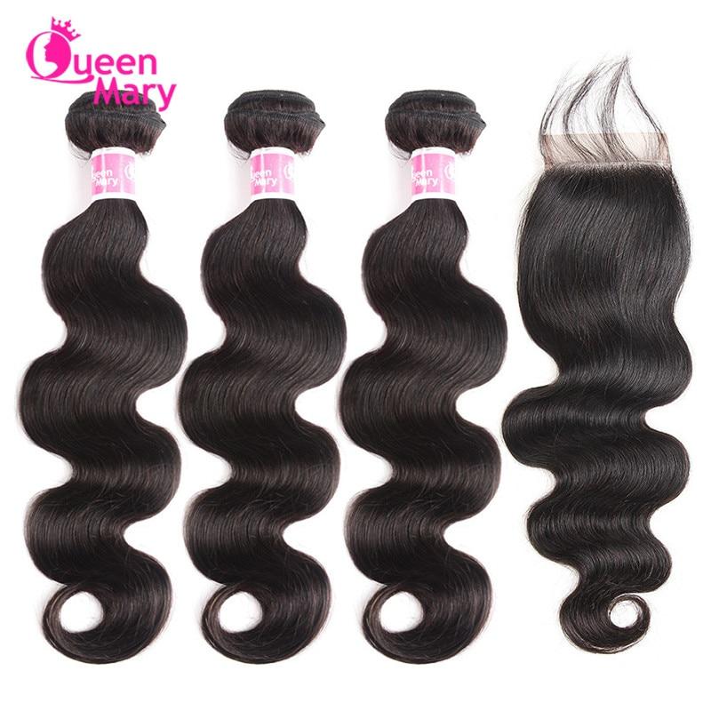 Hc436d6cc017b47c78ed8d76e5aec709aO Peruvian Hair Bundles with Closure Body Wave Bundles with Closure 3 Bundles with Closure Queen Mary Non Remy 100% Human Hair