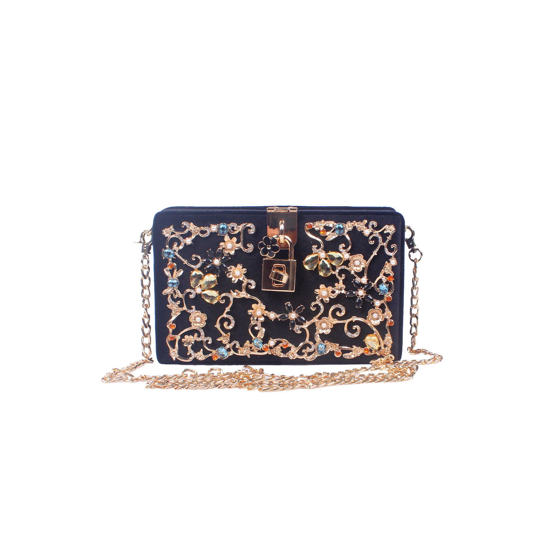 Black Velour Rectangle Box Bag Luxury Evening Bags Women Crossbody Bag Designer With Rhinestone Flower Fashion Party Pouch Purse