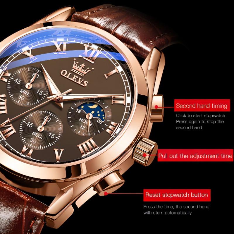 OLEVS Elite Mens Quartz Watches Business Dress Waterproof Wristwatch Men Luxury Breathable Leather Sports watch men Gifts 4