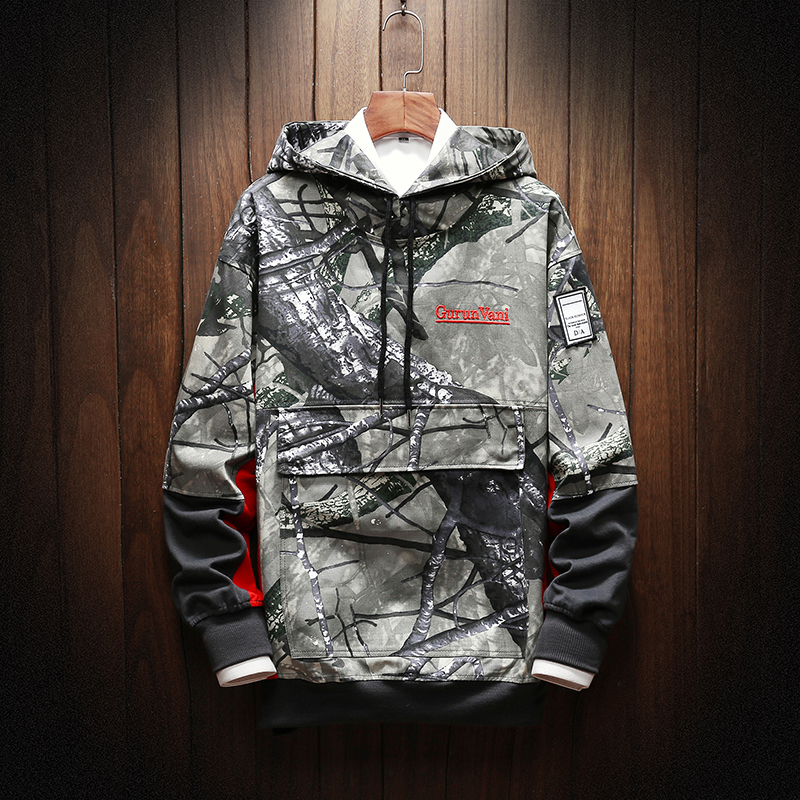 Men Camouflage  Hoodies  Spring  Male Fashion Hoodies Men's Sweatshirts Solid Color Splice Hoodies Street Style
