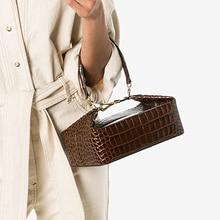 Burminsa timsah baskı küçük kadın çanta şık kutusu tasarımcı omuzdan askili çanta bayanlar telefonu çanta yüksek kaliteli Crossbody çanta 2020