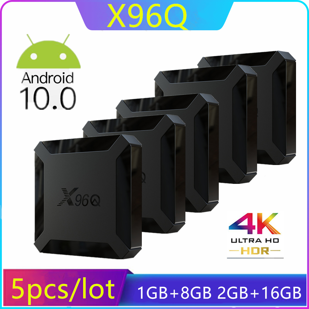 5PCS/Lot X96Q Smart TV Box Android 10 Allwinner H313 Quad Core 2GB 16GB Support 4K 2.4GHz WiFi Set Top Box Media Player 1GB 8GB