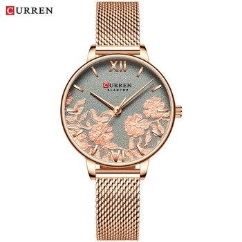CURREN Women Watches Top Brand Luxury Stainless Steel Strap Wristwatch for Women Rose Clock Stylish Quartz Ladies Watch 9