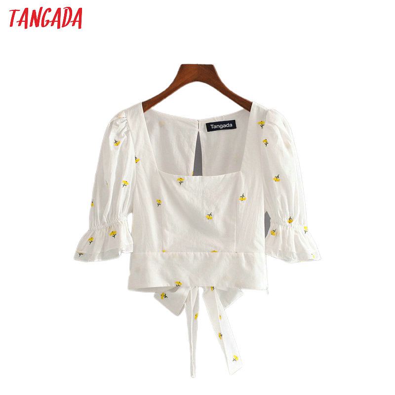 Tangada Women Floral Emeboridery Cotton Shirts Backless Bow For Summer Female High Street Tops Blouses 3H467