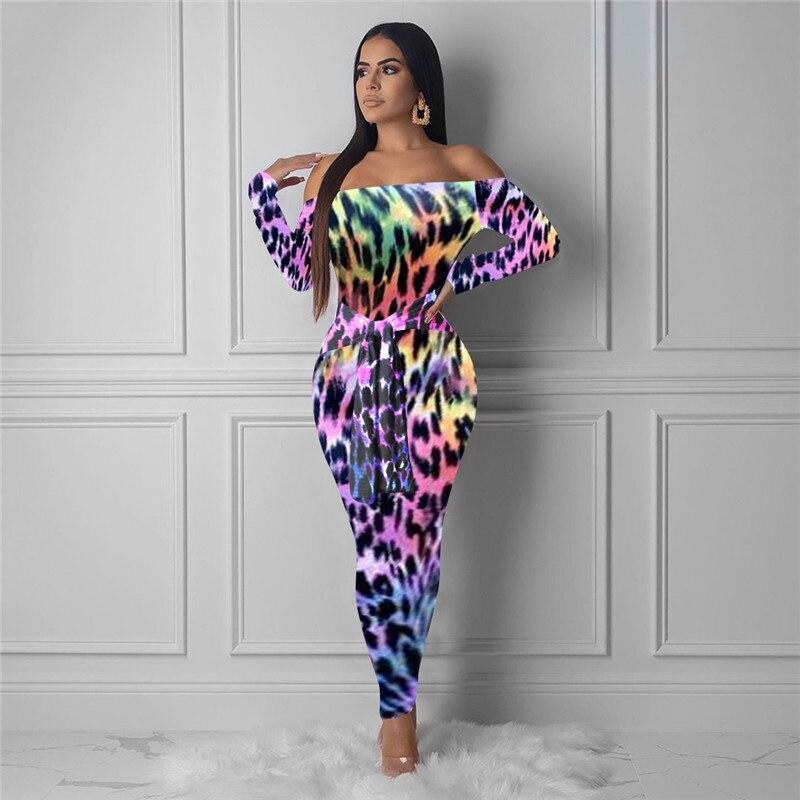 Autumn Womens Leopard Printed Dress Sexy Slash Neck Dresses Fashion Designer