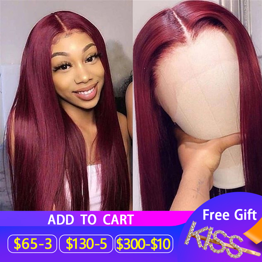 Pure 99J 13x6 Lace Front Human Hair Wigs Women 150% Straight Burgundy Lace Front Wig Colored Human Hair Wigs Brazilian Hair Remy