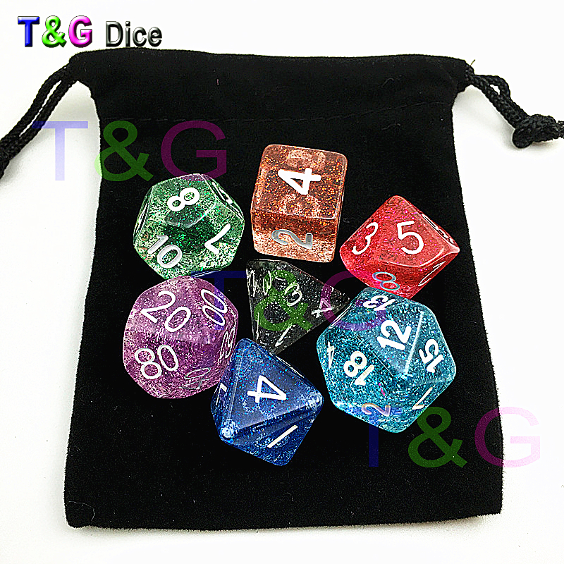 Hot Random Colorful Acrylic Dice Set Of D4-D20 With Glitter/Opaque/Marble/Transparent Effect For Dnd RPG Board Game Supplies