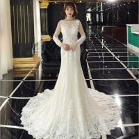 Long sleeves meraid hem lace slim french hot wedding dress slender stylish Applique Ball Gowns
