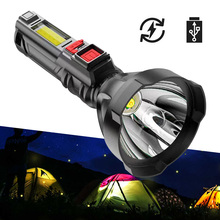 Linterna LED COB de largo alcance, linterna con batería integrada, USB, 4 modos, 50000LM
