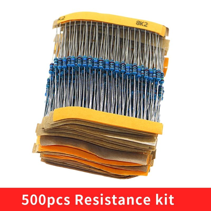 Juego surtido de resistencias de película de Metal juego de 50 valores 1/4W 0,25 500 W, Kit de muestras de resistencia 1R-10mR 1ohm-10Mohm, 1% unids/lote