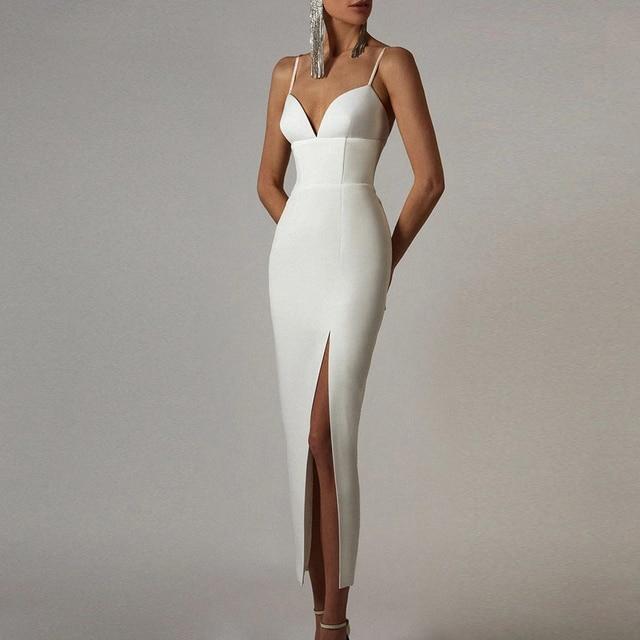 Adyce New Summer Women White Bodycon Bandage Dress Sexy V Neck Spaghetti Strap Club Celebrity Evening Runway Party Long Dresses 1