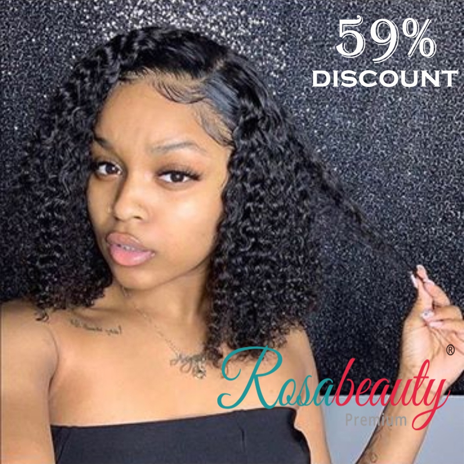 Rosabeauty Brazilian Curly Lace Front Human Hair Wigs With Baby Hair Deep Water Wave Short Curly Bob Wigs For Women Pre-Plucked