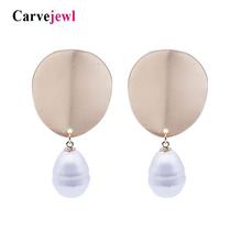 Carvejewl Drop Dangle Earrings leaf twisted pearl earrings for women jewelry girl gift new fashion Korean earrings spring style цена и фото