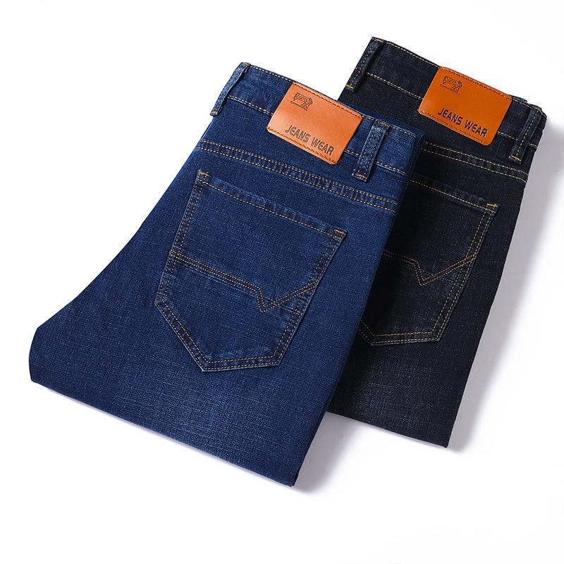 Cowboy Business MEN'S Pants Summer New Style Elasticity Slim Fit Straight-Cut Large Size Men High Waist Jeans Men's