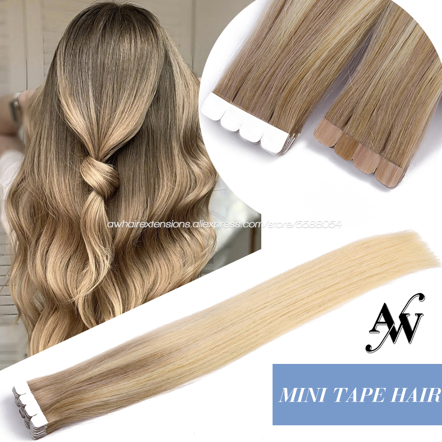 AW 26'' 28'' Mini Tape In Hair Extensions Balayage Ombre Machine Remy Seamless Invisible Natural Skin Weft Tape Hair Extensions