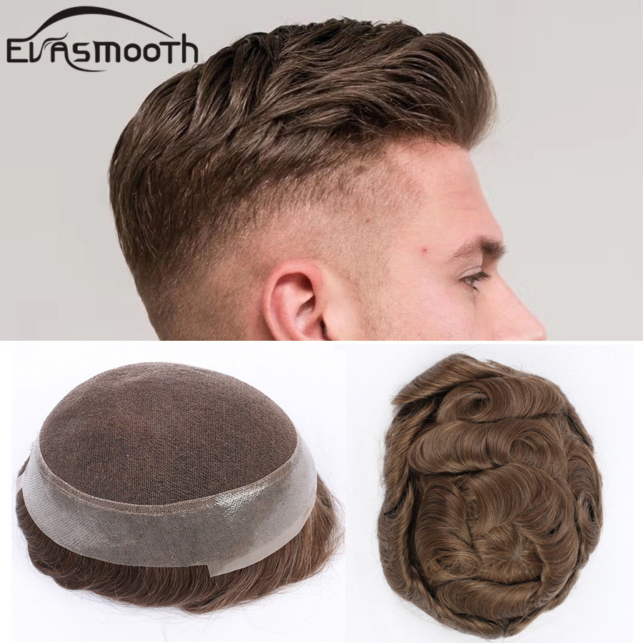 New Fashion Australia Toupee Mens Hair Prosthesis Man Human Hair Wig Lace Hair Replacement Indian Mens Wig Hair Hairpieces