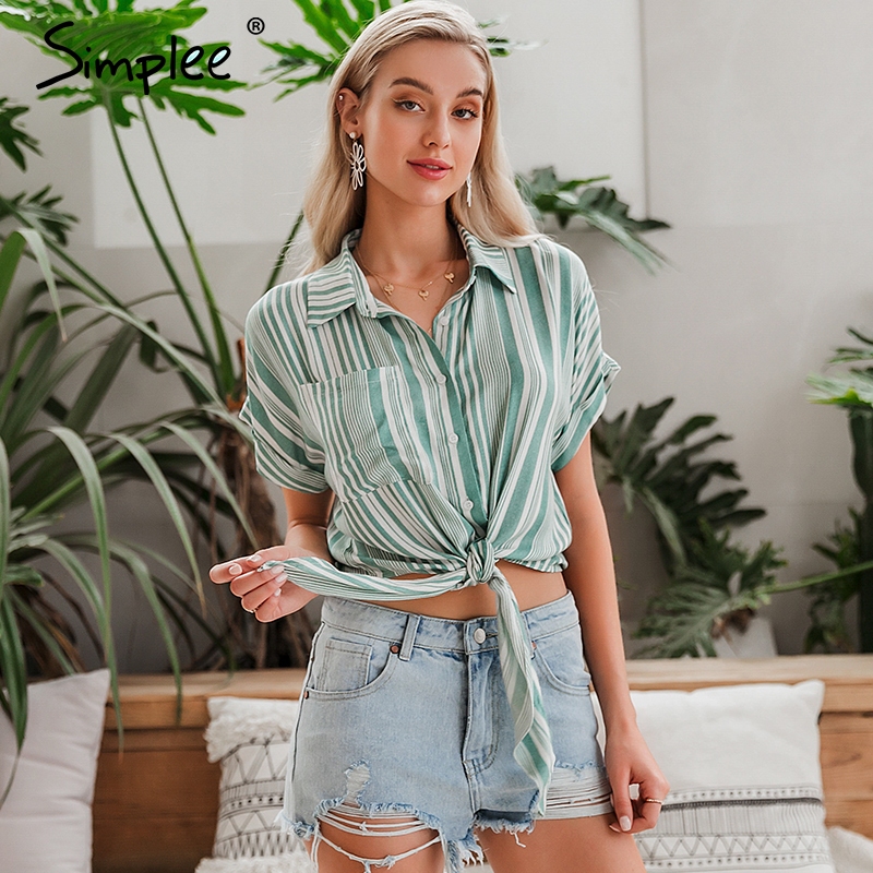 Simplee Sexy Fashion Striped Green Women Blouse Shirt Vintage Summer Casual Holiday Beach Style Tops Boho Half Sleeve Shirt
