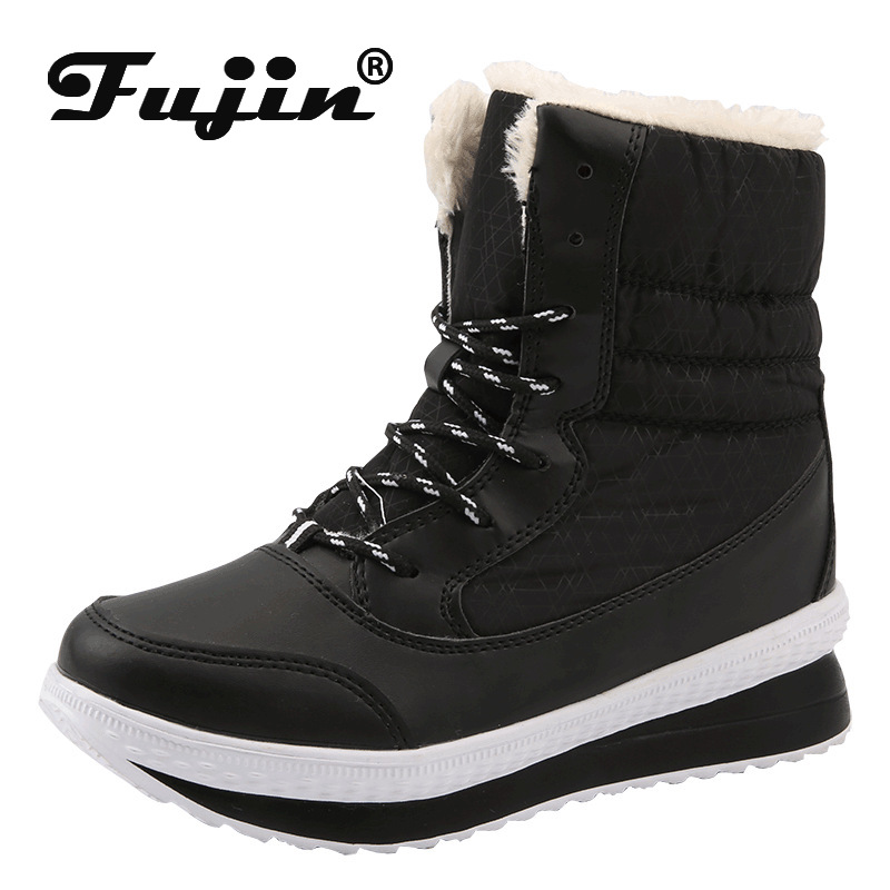 Fujin Shoes Canvas Winter Snow-Boots Velvet Round Toe Thick-Bottom Women Warm Plus Solid