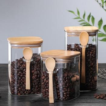 3 Ideas 800-1200ml with Spoon Sealed Jar Storage Tank Condiment Coffee Beans Tank Kitchen Supplies Sugar Storage Bottle Tea Box 1