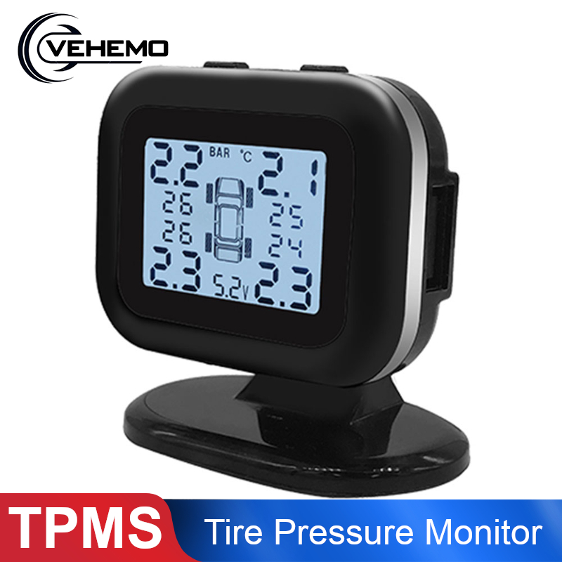 Car TPMS Tire Pressure Monitoring System Stable Alarm Solar Power  Tyre Pressure Sensor Digital LCD Display Car Accessories|Tire Pressure Alarm| |  - title=