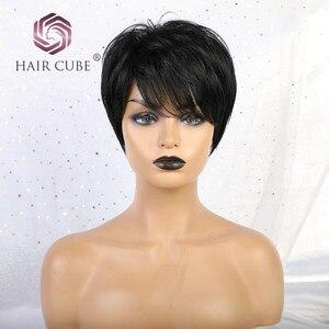 Парики из синтетических коротких прямых волос Haircube с челкой, 50% человеческие волосы, натуральный черный 1B цвет, парики для женщин