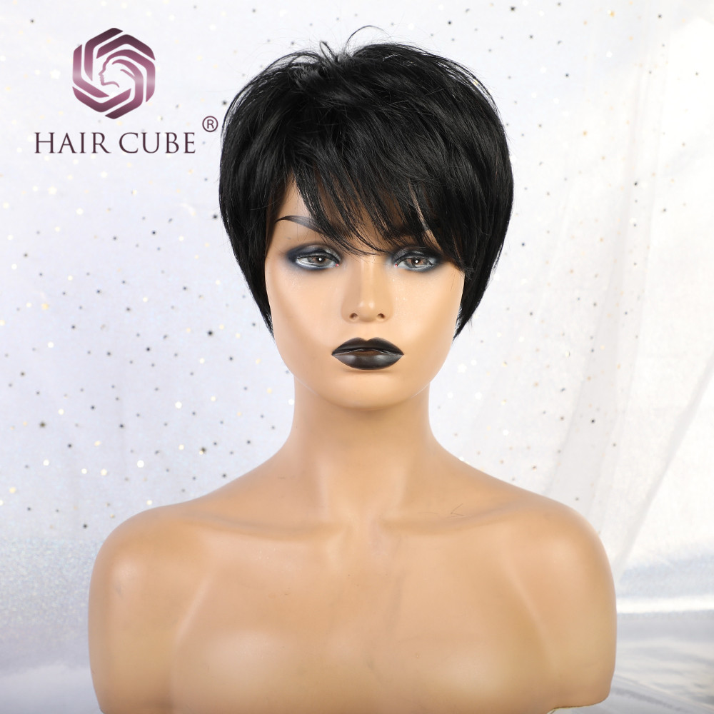 Haircube Synthetic Short Straight Hair Wigs With Bangs 50% Human Hair Natural Black 1B Color Pixie Cut Blend Wigs  For Women