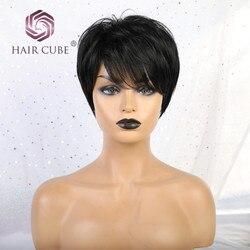 Haircube Synthetische Korte Rechte Haar Pruiken met Pony 50% Human Hair Natuurlijke Zwarte 1B Kleur Pixie Cut Blend Pruiken voor vrouwen