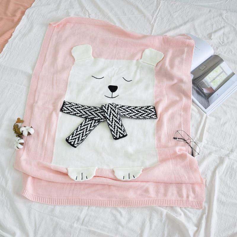 New White Bear Stereo Ear Blanket Children sleeping bags olid Color Soft Knitted Blanket Beach Mat Baby Hug Blanket Fashion Cute in Blanket Swaddling from Mother Kids
