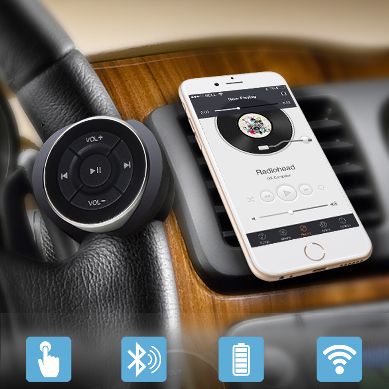 Wireless Bluetooth Media Remote steering wheel remote mobile music play control for car motorcycle bike handlebar car styling smartphone