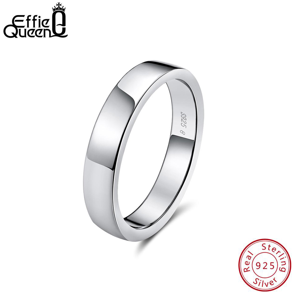 Effie Queen Sterling Silver Women Wedding Band High Polished Can Engrave Name Date Bar Men Rings Party 925 Jewelry TSR73