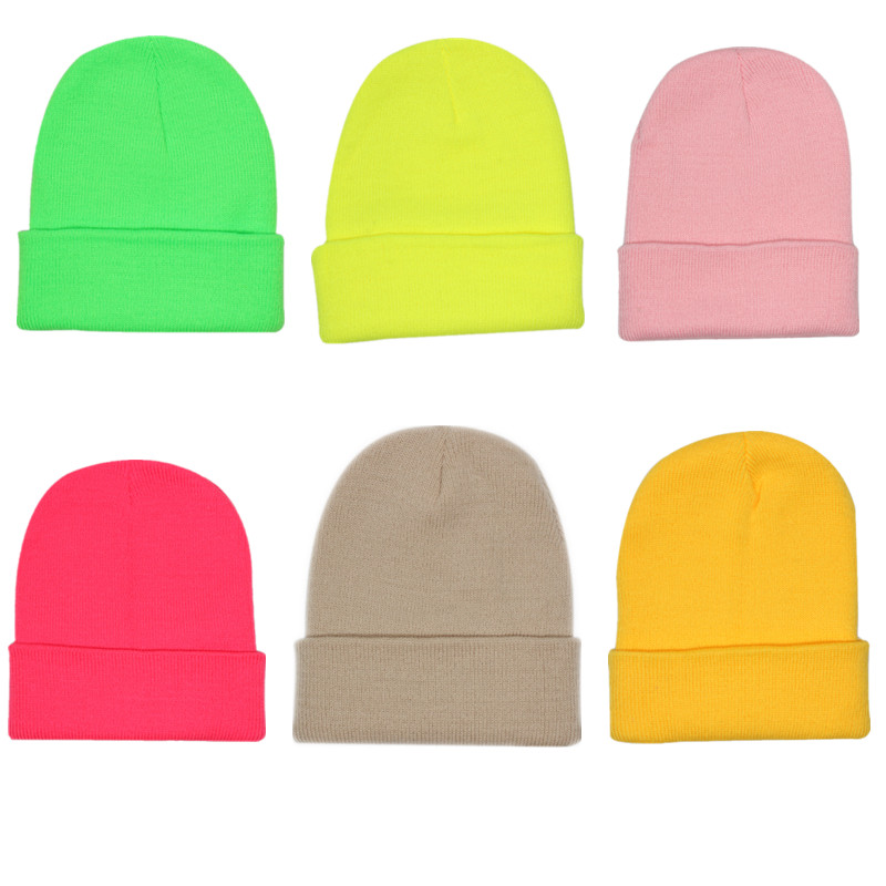 Fashion Autumn Winter Wool Blends Soft Warm Knitted Cap Solid Unisex Beanie Hip Hop Caps Bright Colours Ski Caps
