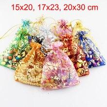 100 adet/grup 15x20,17x23,20x30 cm gül çiçek yaprak büyük organze çanta İpli torbalar düğün parti için hediye paketleme çantaları